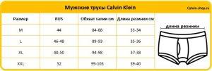 Размерная таблица Кельвин Кляйн мужские